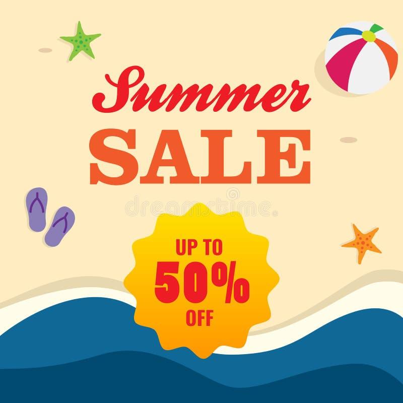 50% av befordran för sommarförsäljningsaffisch design för sandstrandbakgrund stock illustrationer