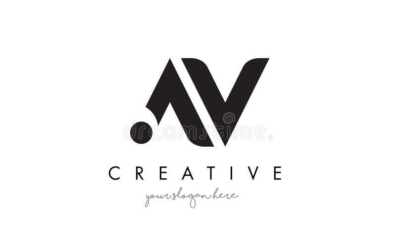 AV brief Logo Design met Creatieve Moderne In Typografie royalty-vrije illustratie