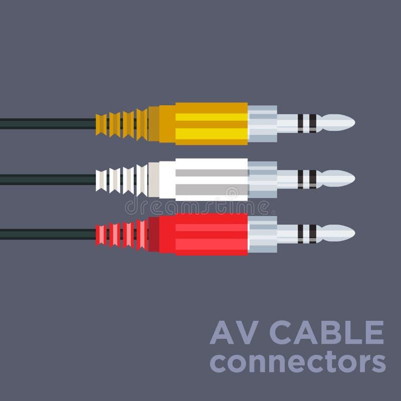 Av cable connectors vector illustration