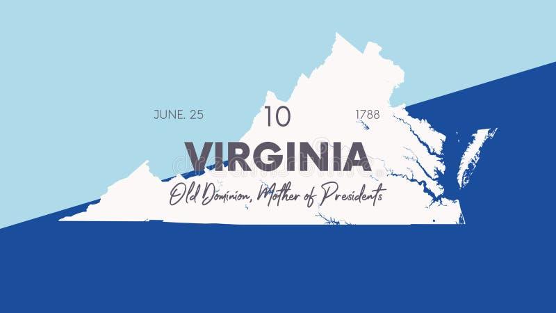 10 av 50 delstater i Förenta staterna med namn, smeknamn och datum som har godkänts i unionen, Detaljerad Vector Virginia Map för royaltyfri illustrationer