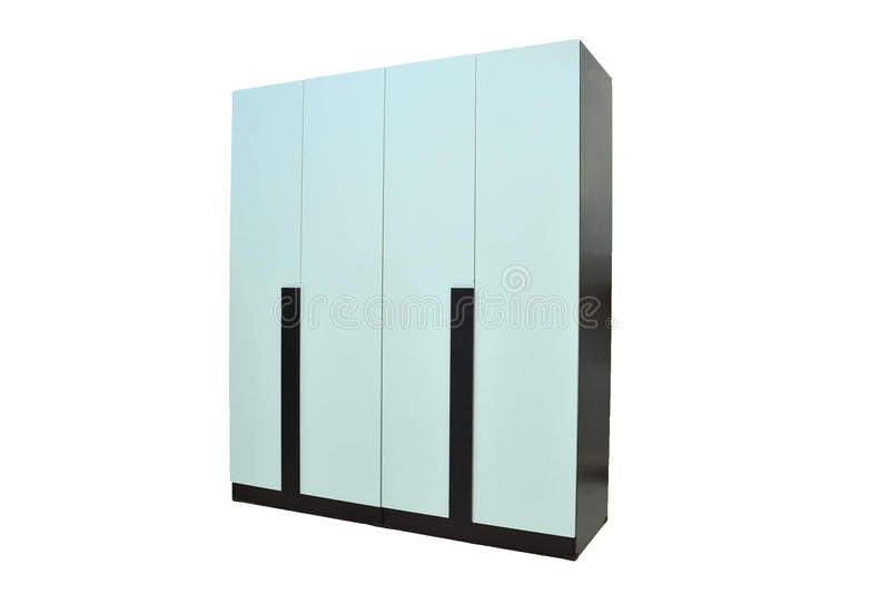 Av den wood garderoben på vit bakgrund för objektrum för modernt möblemang isoleras den bosatta inre lagringen för designen royaltyfri fotografi