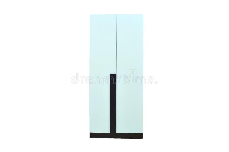 Av den wood garderoben på vit bakgrund för objektrum för modernt möblemang isoleras den bosatta inre lagringen för designen royaltyfri bild