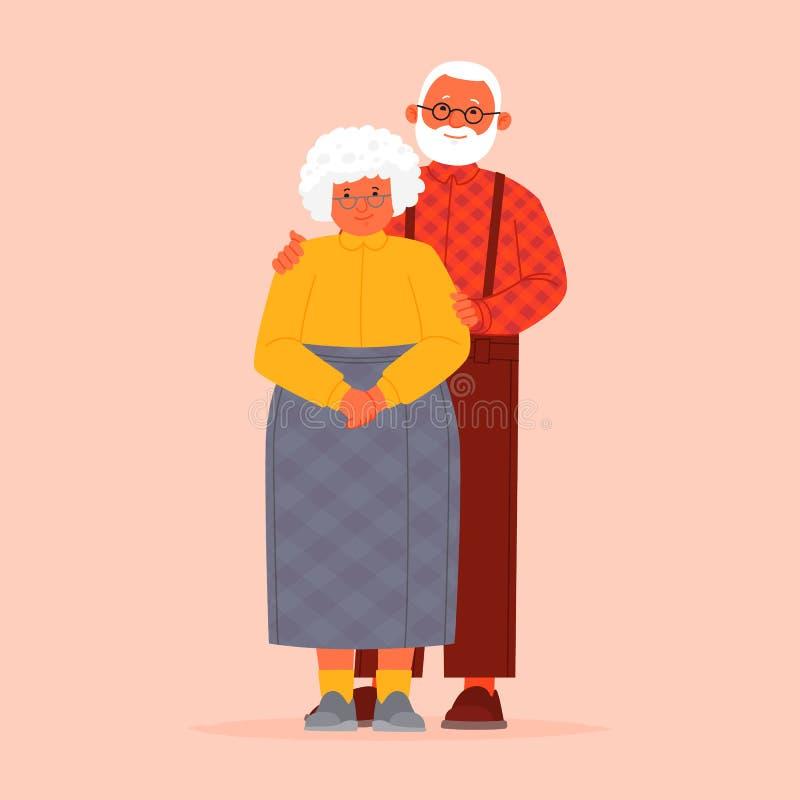 Av? e av? junto grandparents Pares idosos Um homem e uma mulher da idade avan?ada ilustração do vetor