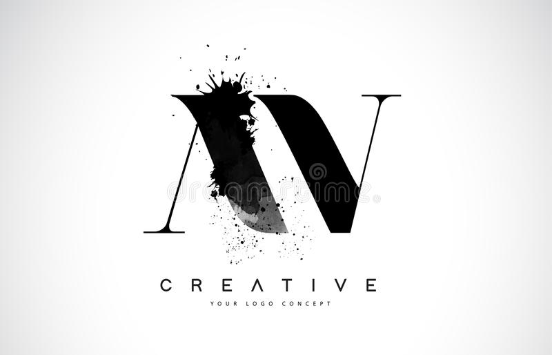 AV een V-Brief Logo Design met Zwarte de Plonsmorserij van de Inktwaterverf royalty-vrije illustratie