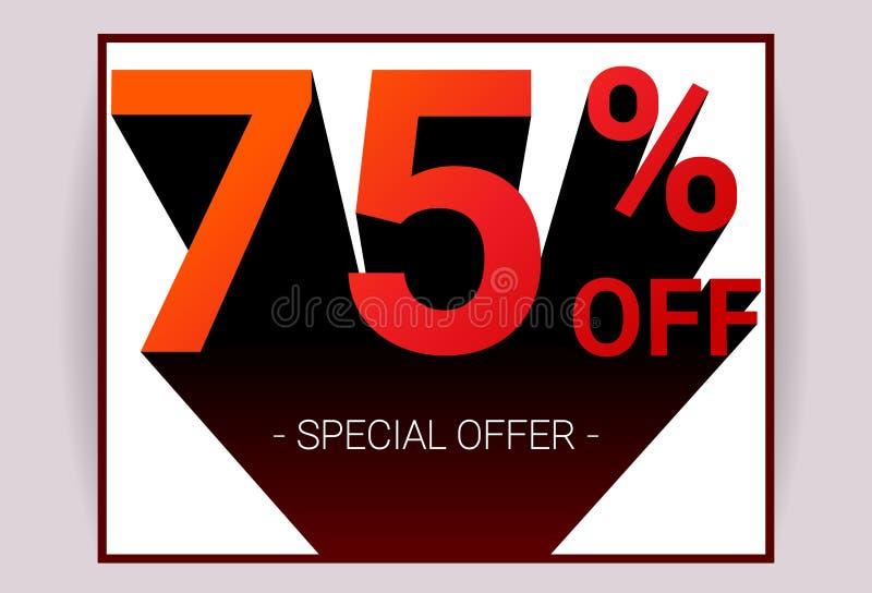 75% av försäljning Text för röd färg 3D och svart skugga på vit bakgrund planlägger stock illustrationer