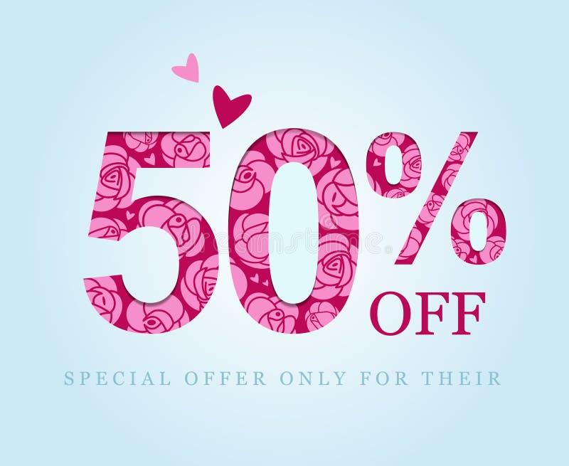 50 av Femtio procent rabatt rosa ro försäljning vektor illustrationer