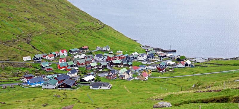 By av Funningur på Faroeen Island royaltyfri fotografi
