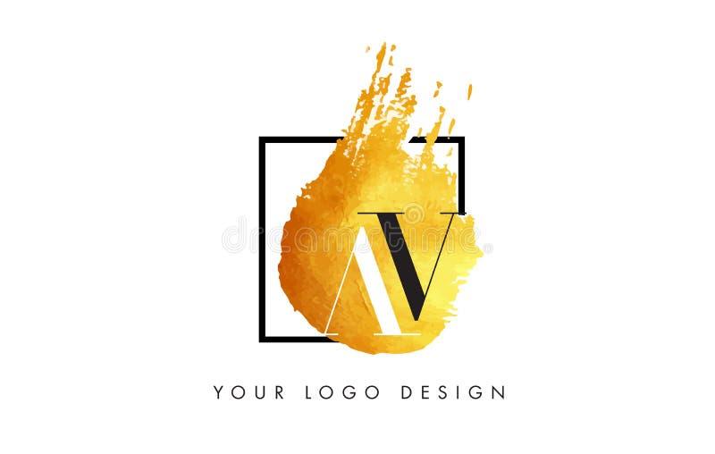 AV Gold Letter Logo Painted Brush Texture Strokes. stock illustration