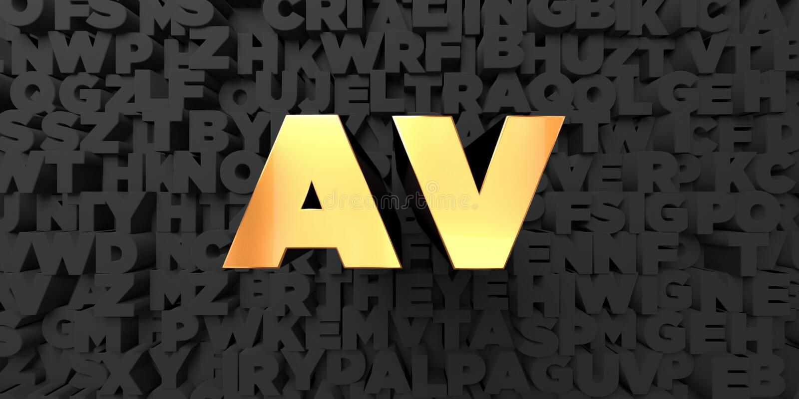Av - Gold text on black background - 3D rendered royalty free stock picture royalty free illustration