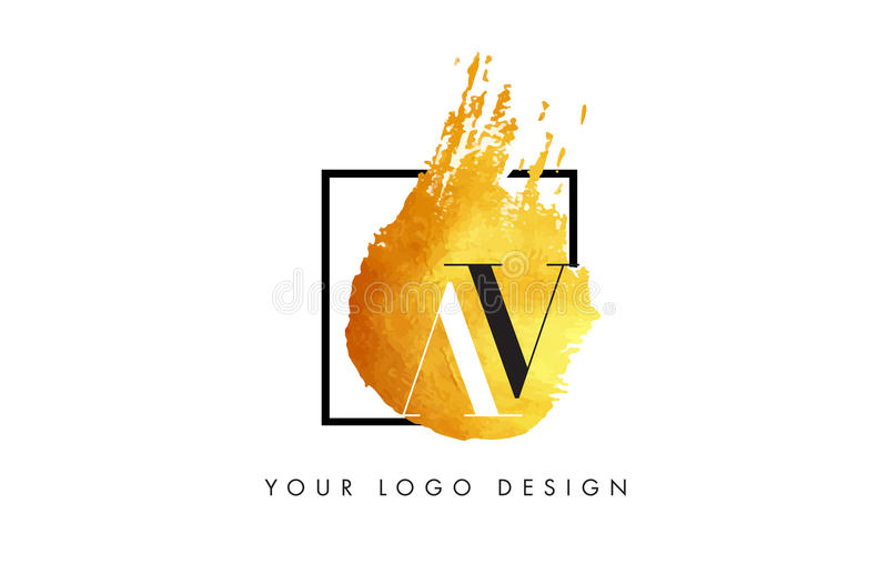 AV gouden Brief Logo Painted Brush Texture Strokes stock illustratie