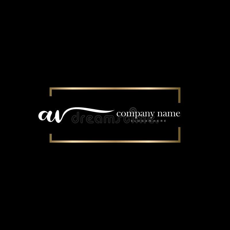 AV initial handwriting logo template vector. vector illustration