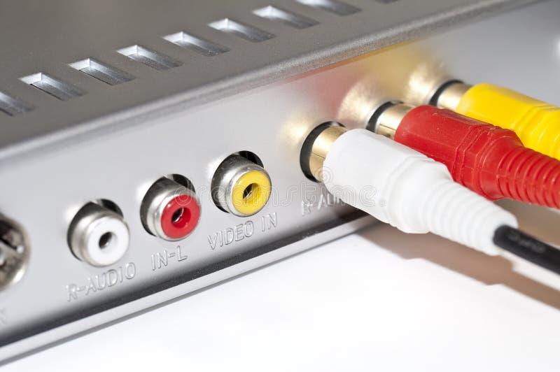 AV kabel för videopp och ljudsignalsignaler för förbinda arkivfoton