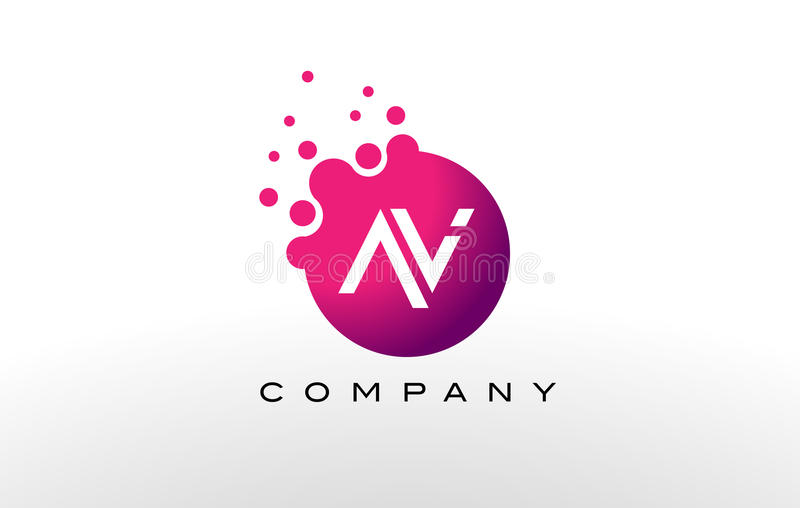 AV Letter Dots Logo Design with Creative Trendy Bubbles. royalty free illustration