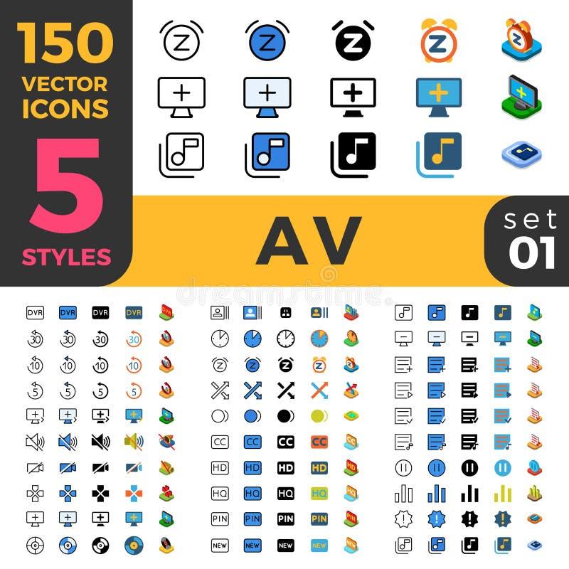 150 AV linjär plan isometrisk mobil programvarurengöringsduk s vektor illustrationer