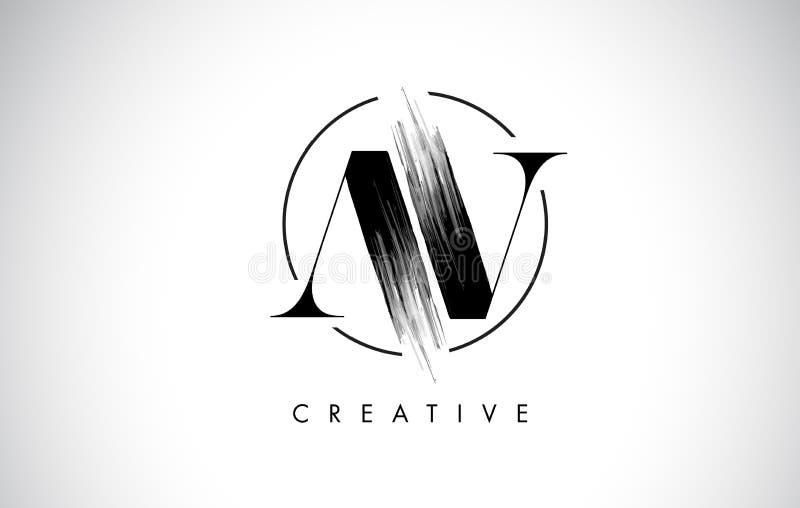 AV muśnięcia uderzenia listu loga projekta Czarny farba logo Pisze list ikonę ilustracji