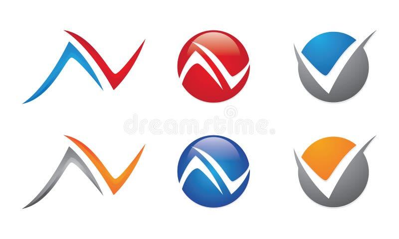 AV, N, V-Brief Logo Template royalty-vrije illustratie