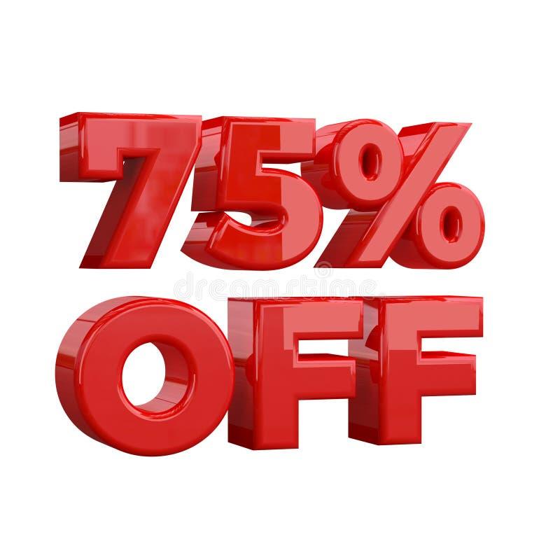 75% av på vit bakgrund, specialt erbjudande, stort erbjudande, försäljning sjuttiofem procent av det befordrings- annonserande ba stock illustrationer