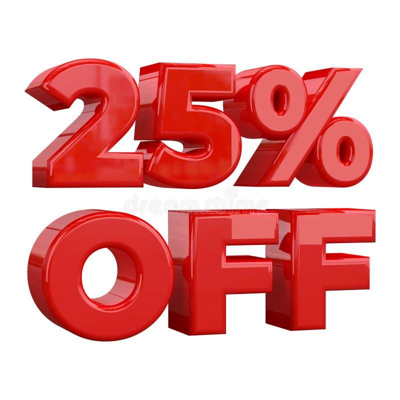 25% av på vit bakgrund, specialt erbjudande, stort erbjudande, försäljning tjugofem procent av det befordrings- annonserande banr royaltyfri illustrationer