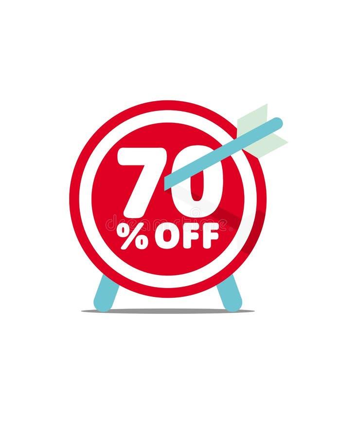 70% av Rabattvektordiagram Abstrakt begrepppilsköld med pilen stock illustrationer