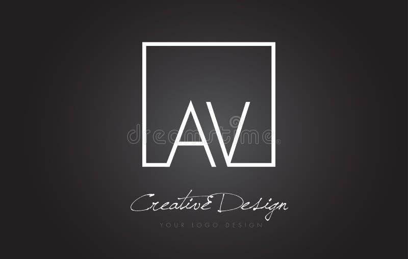 AV Square Frame Letter Logo Design with Black and White Colors. vector illustration