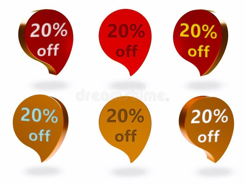 20% av tecken vektor illustrationer