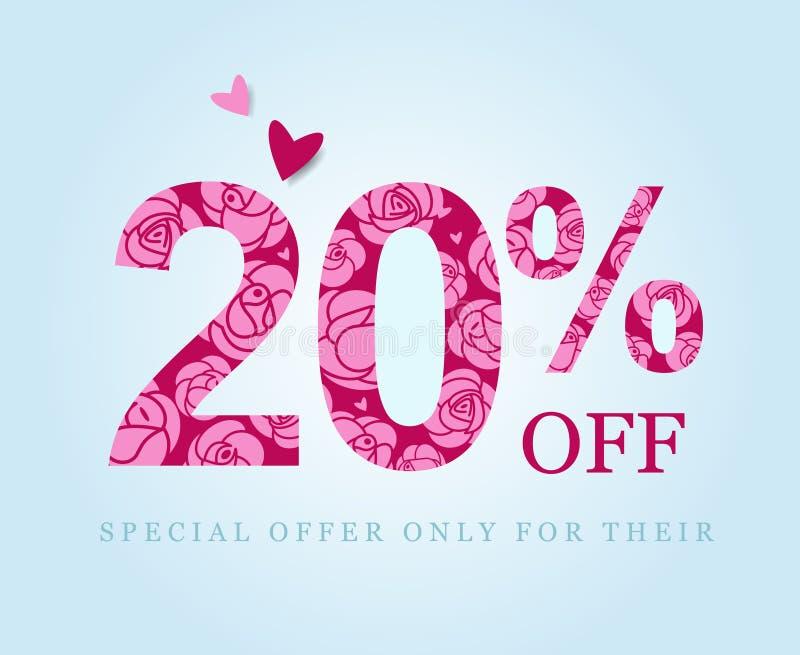 20 av Tjugo procent rabatt rosa ro royaltyfri illustrationer