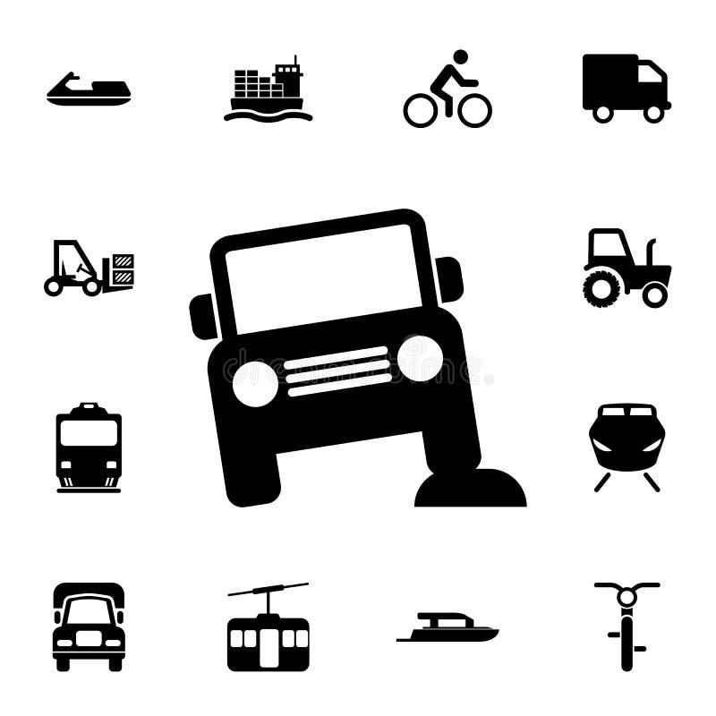Av-väg bilsymbol Detaljerad uppsättning av transportsymboler Högvärdigt kvalitets- tecken för grafisk design En av samlingssymbol royaltyfri illustrationer