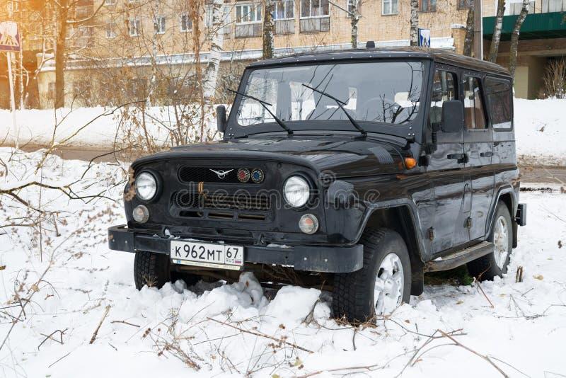 Av-väg för legendarisk ryss för UAZ jägare militär automatisk arkivfoto