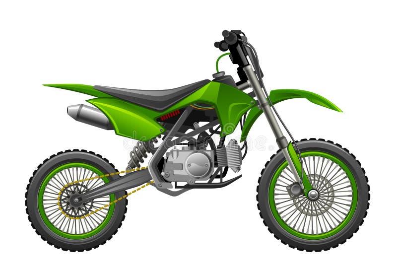 Av-väg grön motorcykel stock illustrationer