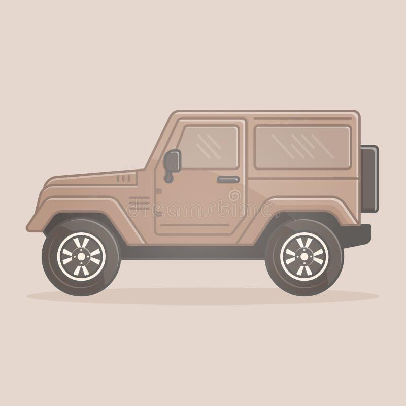 Av-väg medel som isoleras på SUV för SUV-fordon för sportar 4x4 för naturlig färgbakgrund den extrema symbolen royaltyfri illustrationer