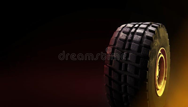 av-vägen 4x4 medelgummihjulet på mörk bakgrund 3d framför stock illustrationer
