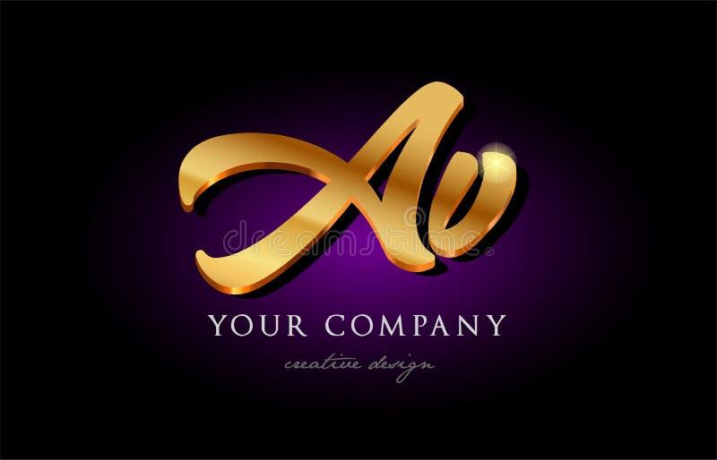 av a v 3d gold golden alphabet letter metal logo icon design h vector illustration