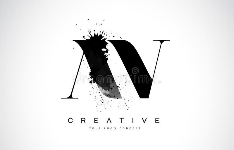 AV A V Letter Logo Design with Black Ink Watercolor Splash Spill royalty free stock image