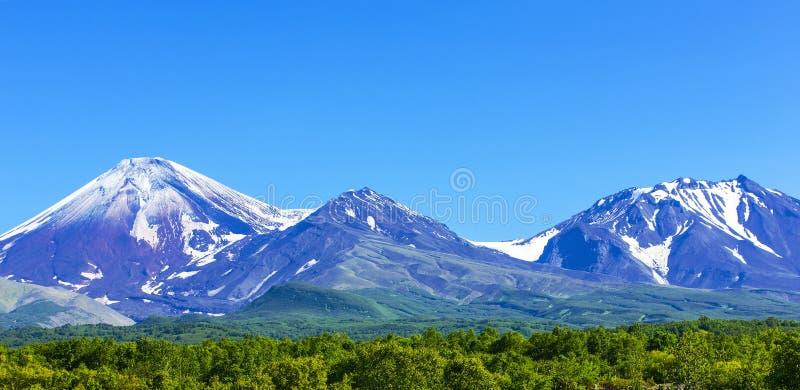 Avachinsky en Kozelsky-vulkanen in Kamchatka in de herfst stock fotografie