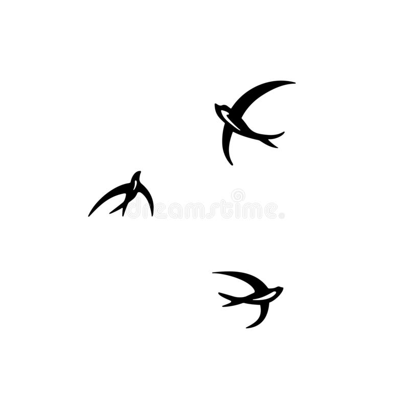 Three circling swallows. Available in high-resolution and several sizes to fit the needs of your project royalty free illustration