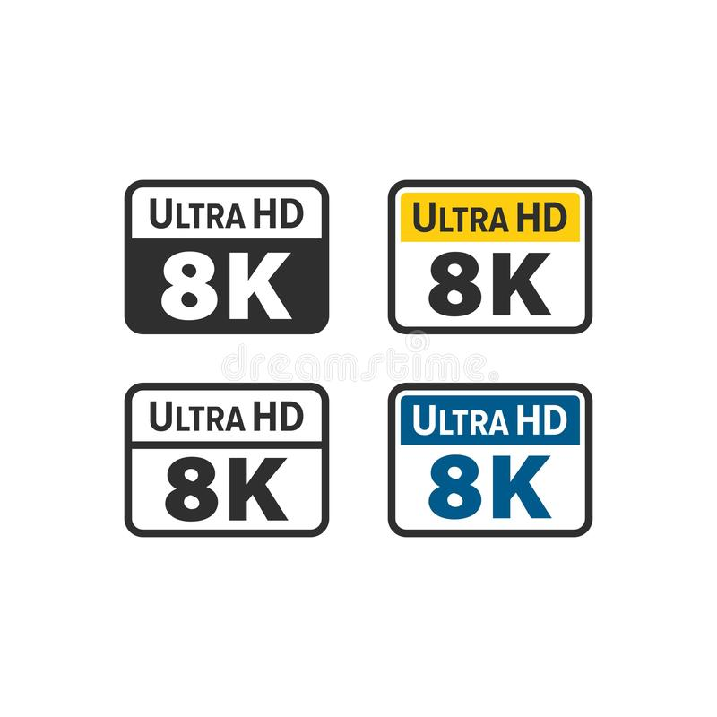 Ultra HD 8K icon royalty free illustration