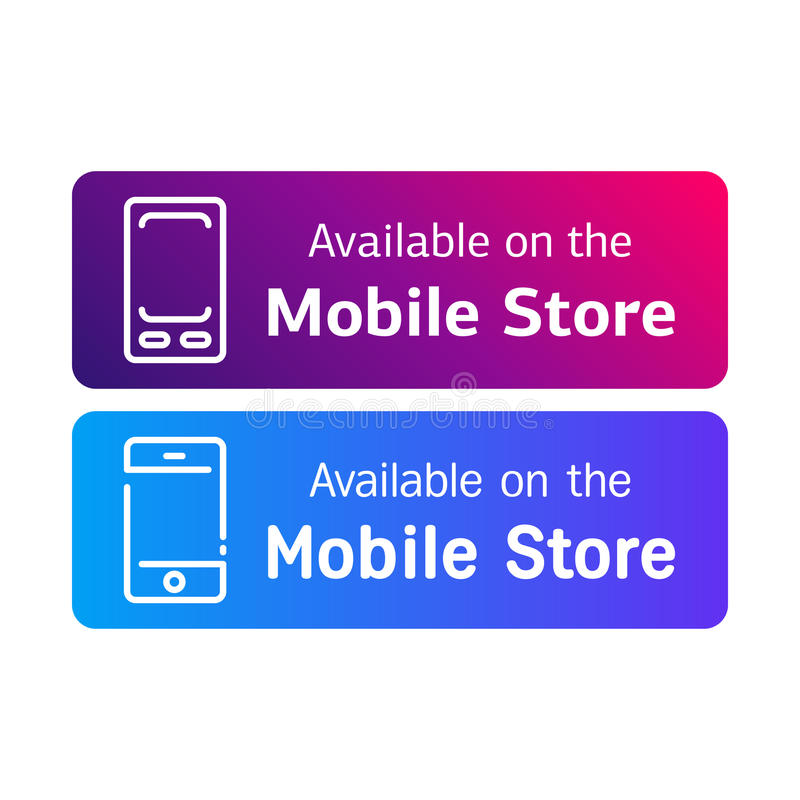 Set of two stickers for avaolable in mobile stores information door advertisement web banners or signs vector design