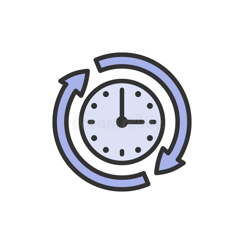 Free Available Services, Availability, 24 Hours Support Flat Color Line Icon. Stock Images - 162097664