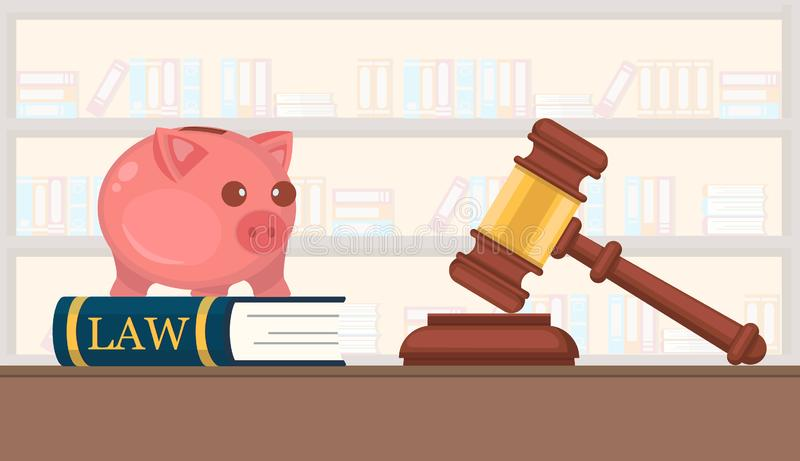 Available Services Law Firm Company Vector Flat. Firm is Engaged in Preparation in Court Cases Building. Book with Piggy Bank Helps Young Professionals. Gavel stock illustration