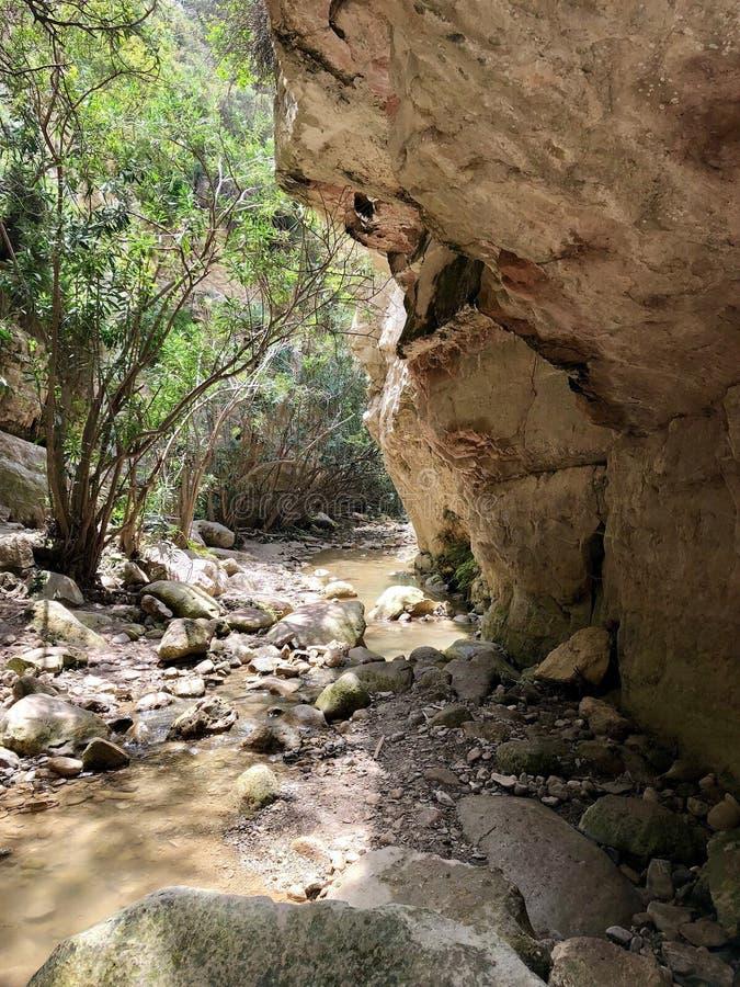 Avakas峡谷供徒步旅行的小道在塞浦路斯 免版税库存照片