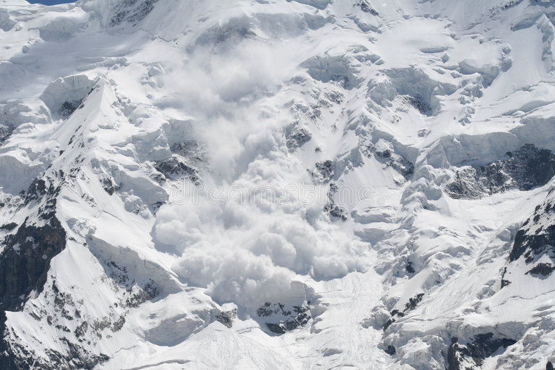 Avalancha da neve fotos de stock