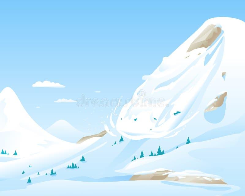 Avalancha nas montanhas ilustração stock