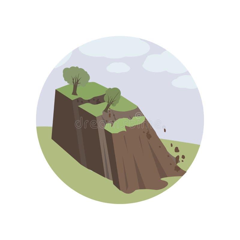 Avalanchas, ambiente, derrumbamiento, corrimiento de tierra, icono natural del color Elemento del ejemplo del calentamiento del p libre illustration