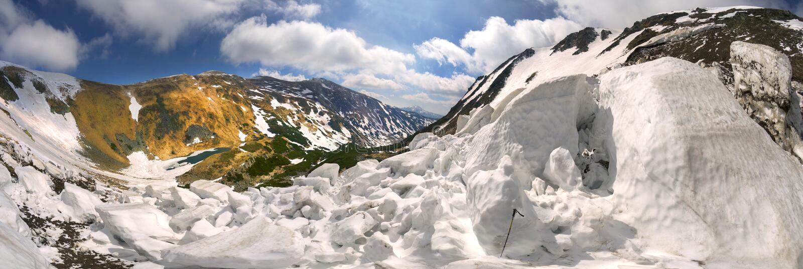 Avalanche in the Carpathians. Powerful avalanche danger in the rural Carpathian Ukraine, which is pulled down a slope of Black Mountain. dangerous for tourists royalty free stock photo