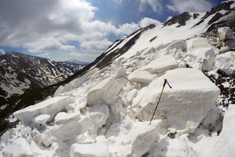 Avalanche in the Carpathians. Powerful avalanche danger in the rural Carpathian Ukraine, which is pulled down a slope of Black Mountain. dangerous for tourists stock images