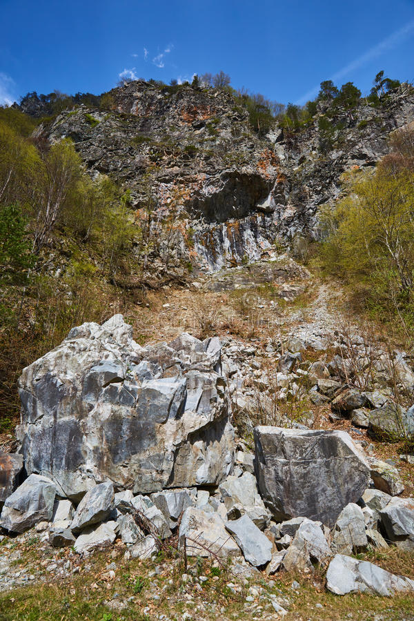 Avalanche of huge rocks. Results of an avalanche after a huge rock broke from the mountain royalty free stock image