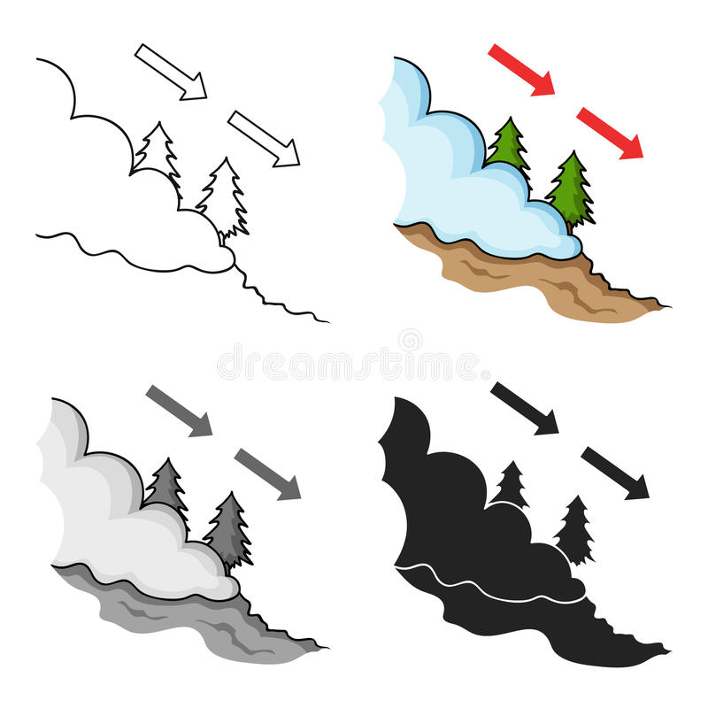 Avalanche icon in cartoon style isolated on white background. Ski resort symbol stock vector illustration. stock illustration