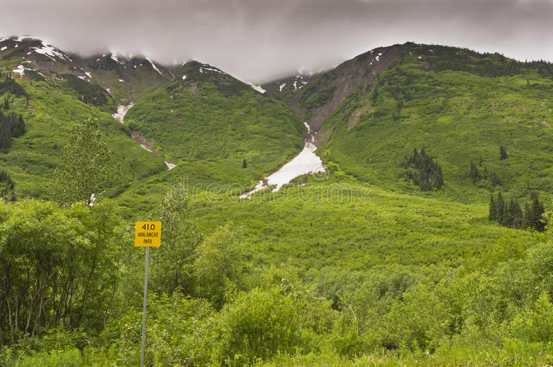 Avalanche path sign in mountains. Along Stewart-Cassiar highway in BC, Canada royalty free stock photo
