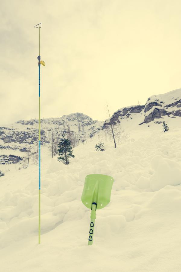 Avalanche shovel and probe. Back country safety equipment royalty free stock photography
