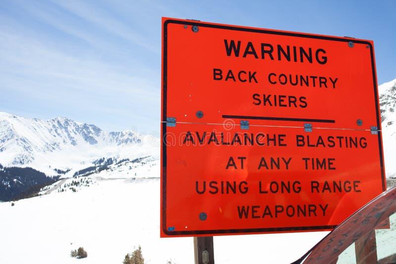 Avalanche warning. Back country avalanche warning stock photo